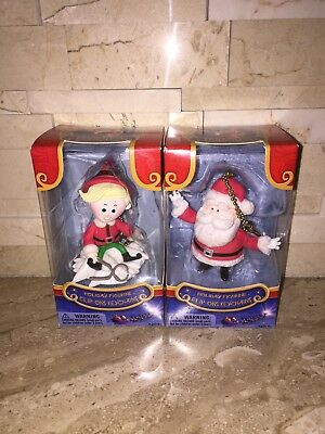 Rudolph The Red Nosed Reindeer  2 Pc Clip Ons Keychain Santa & Hermey