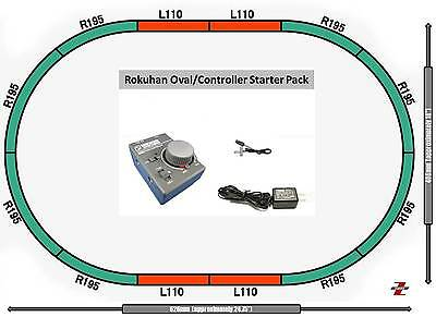 Rokuhan Z Scale Starter  Bundle RC02/R028 Controller Oval Of Track & Adpapter