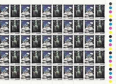 Stamps 1979 Australian Waterfalls gutter part sheet of 50 MUH, uncommon