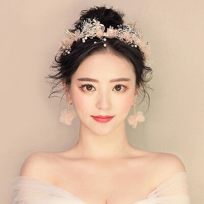 Gorgeous Flower Crown Headband Hair Garland Wedding Party Hairband + Earrings