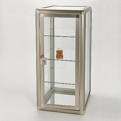 "Countertop Jewelry Showcase Stand Display 3 Glass Tier & Lock 14"" x 12"" x 27""H"