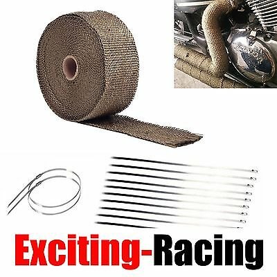 """1 Roll Thermal Header Pipe Tape Titanium Lava Exhaust Wrap 2""""x 50ft Ties Kit"""