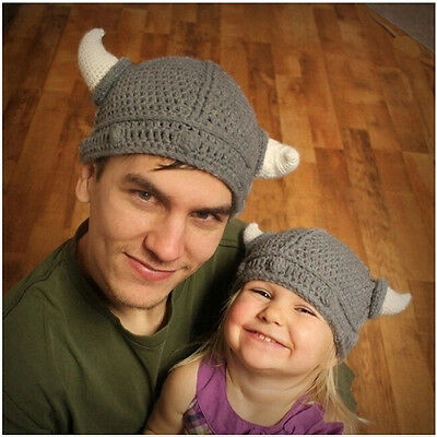 New Children Infant Handmade Crochet Winter Viking Horns Knitted Beanie Hat Cup