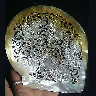 Hand Carved Hummingbird 16.8cm Mother Of Pearl Seashell Carving Sculpture