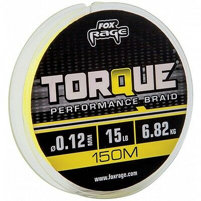 Fox Rage Torque Braid 150m NEW Yellow Pike Predator Line *All Breaking Strains*