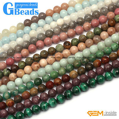 "Natural 8mm Assorted Stones Jewellery Making Round Beads Free Shipping 15""Strand"