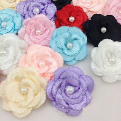 20pcs Satin Ribbon Flower with Pearl Bridal Appliques Craft Gift 13 Colours