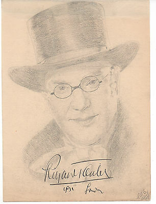 Richard Tauber Hand Signed Autographed 7X9 Original Pencil Sketch