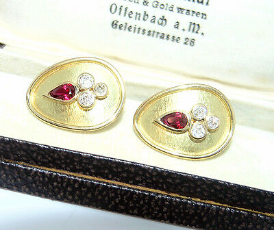 Vintage Cocktail Ohrringe mit Diamanten 750 Gold Ohrstecker Ohrclipse Earrings