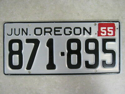 1955 Oregon License Plate - Fantastic Original Condition - Rare - 871-895
