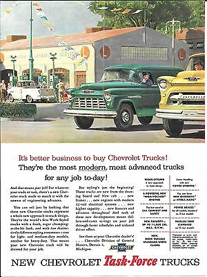 1955 Chevrolet Task Force Trucks Gas Pumps Ad