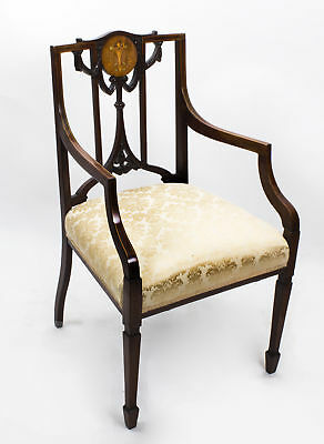 Antique Edwardian Mahogany Inlaid Armchair C.1900