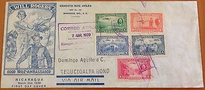Nicaragua 1939 Illustrated Fdc Will Rogers With Interesting Letter..