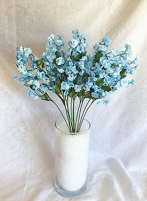 12 Baby's Breath ~ LIGHT BLUE ~  Gypsophila Silk Wedding Flowers Centerpieces