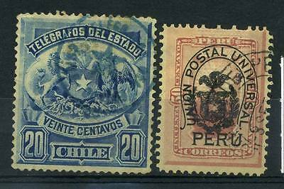 16-12-00018 - Chile 1880 Mi.  3,9b US 40% missing teeth 1881 Sevice stamps