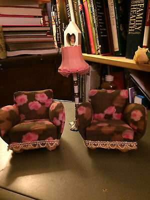 1 beautiful Lundby chairs with Lundby lamp