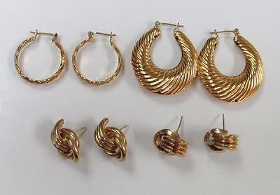 Dealer's Lot of 4 Pairs of Gold Tone Earrings With 10k Gold Post ~ 2-B8472