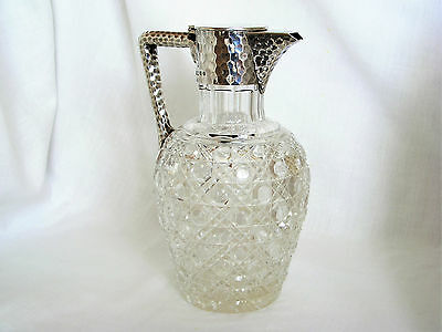 Beautiful, Victorian Solid Silver Mounted, Cut Glass Claret Jug –Birmingham 1886