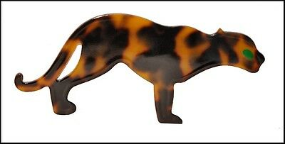 Exquisite Faux Tortoise Shell Resin Figural Panther Pin - Green Eye
