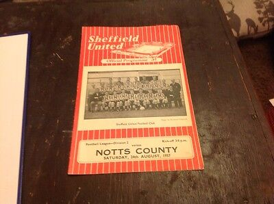 football programmes Sheffield United V Notts County 1957/58