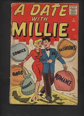 A date With Millie #1 Marvel atlas Timely good girl art comic  KEY ISSUE