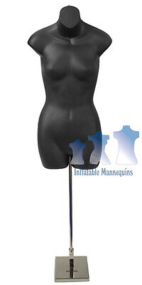 "Female 3/4, Black and Tall adjustable Mannequin Stand with 8"" Square Base"