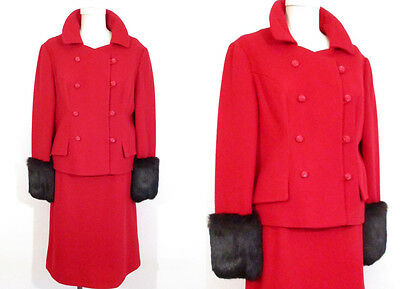 Fur-Trimmed RED SKIRT SUIT Vintage Black Fur 1960's Wide Cuffs Wool Mod Jacket