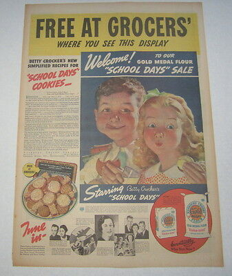 Old Vintage 1936 - GOLD MEDAL FLOUR - Poster-Size Advertisement - School Days