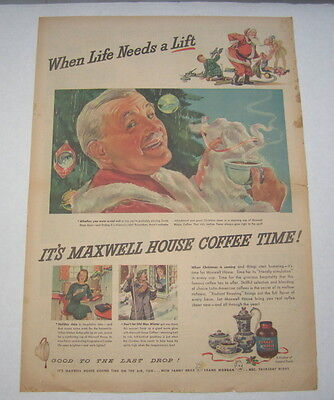Old Vintage 1943 - Maxwell House COFFEE - Poster-Size Advertisement - Christmas