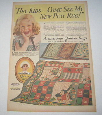 Old Vintage 1936 - Armstrong QUAKER RUGS - Poster-Size Advertisement
