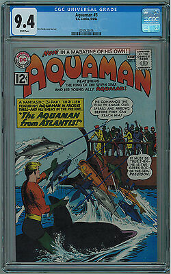 Aquaman #3 Cgc 9.4 High Grade White Pages 1962