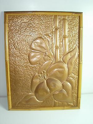 Vintage Arts And Crafts Bamboo Framed Hammered Copper Wall Art Hawaiian Floral