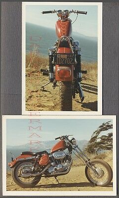 Vintage 1972 Photos View of Custom RED Motorcycle w/ California License 730380