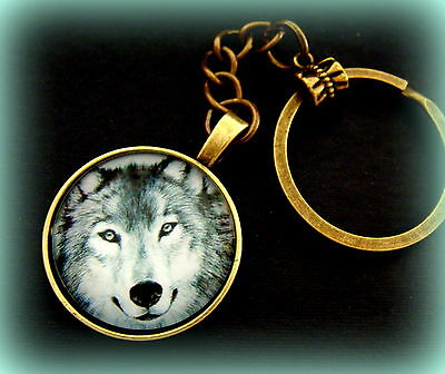 Striking WOLF Head KEYCHAIN Jewelry - Glass Cabochon