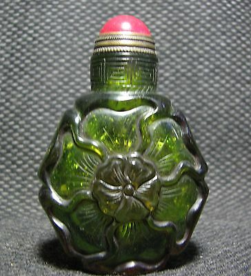 Special Chinese Glass Carve Flowers Design Snuff Bottle
