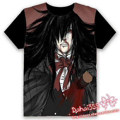 Anime Hellsing Ova HD Fiery Terror Black Cosplay Unisex Hentai T-shirt Tops #V0