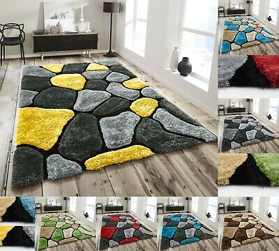 Pebbles Super Soft Thick Plain 3D Shaggy Rug Non Shed Deep Pile Charocal Grey