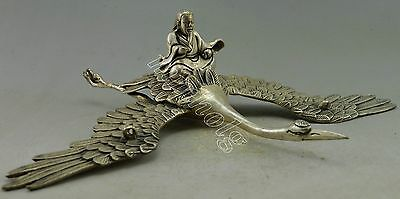 Collectible Decorated Old Silver Plate Copper Carve Immortal Flying Crane Statue