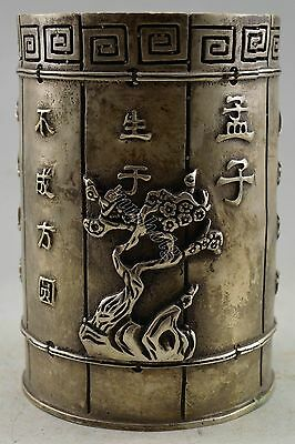 Collectible Decorated Old Silver Plate Copper Wintersweet Bamboo Poet Brush Pot