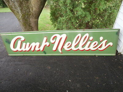 Large Antique Porcelain Metal Country Store Storefront Sign Aunt Nellies