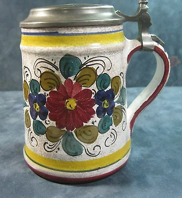 "Vintage Italian stein w pewter lid-Rein Zinn Inscribed CM on lid 6"" 1lb 4oz ᴾ"