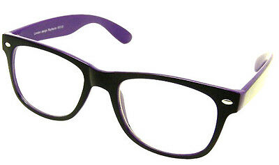 Black & Purple Geek Vintage Retro Clear Lens Glasses Style W3103