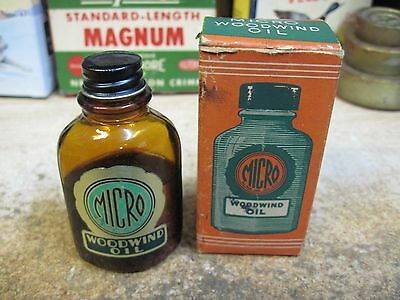Micro Woodwind Oil  Bottle And Original Box Can 4 Oz Mid 1900's