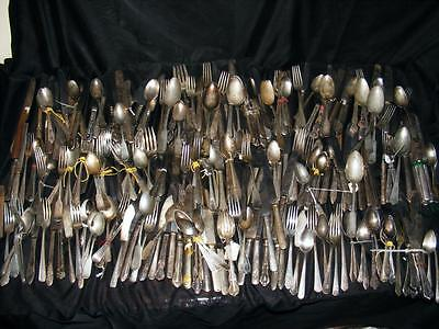 Large Antique Silverplate Flatware Lot Crafts Use Or Resale 32 Lbs 287 Pc C Free