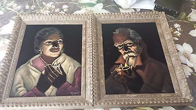 Framed Oil Paintings on Velvet of a Man and Woman Perfect Condition 19 x 15