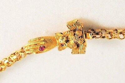 Antique GEORGIAN Long 18 Kt  Gold CHAIN - HAND CLASP w/ Ruby Ring - C. 1800