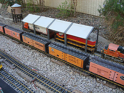 """G-scale 66"""" Long 6 Stall Diesel Maintenance Shed Spans 2 Tracks Fits LGB & All"""