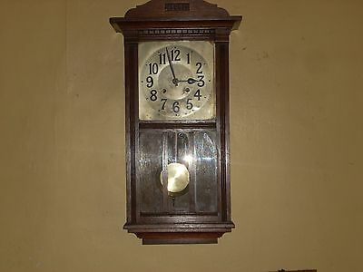 Antique American New Haven Oak Case Wall Clock In Good Working Order C1890