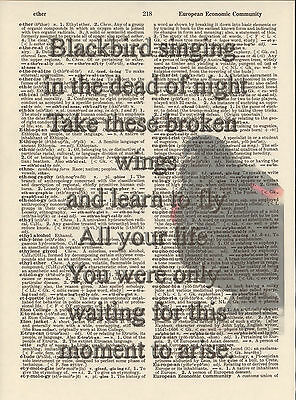 Blackbird Singing Beatles Altered Art Print Upcycled Vintage Dictionary Page
