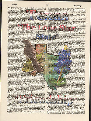 Texas State Map Symbols Altered Art Print Upcycled Vintage Dictionary Page